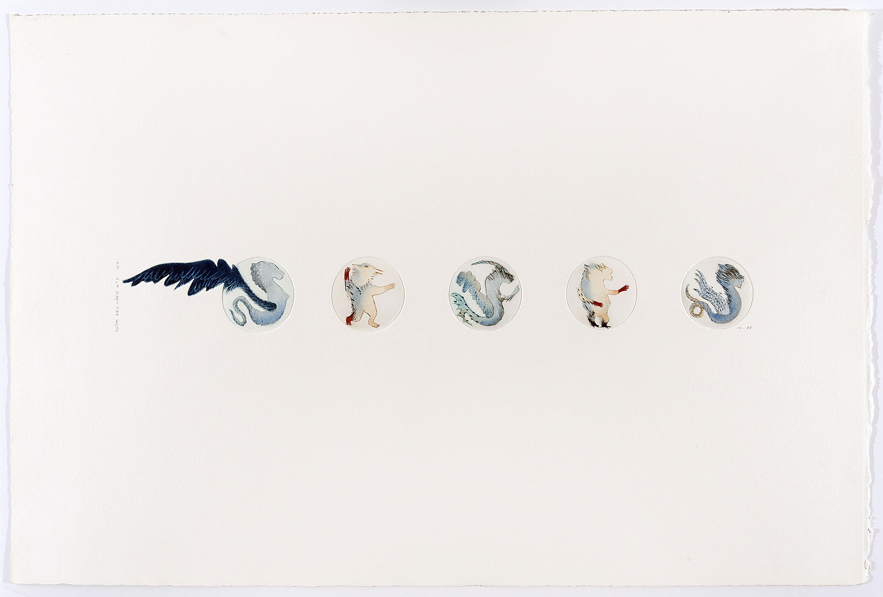 Anne Petrequin, Suite des cinq, n° I, II, III, IV, V, 1985. Collection macLYON